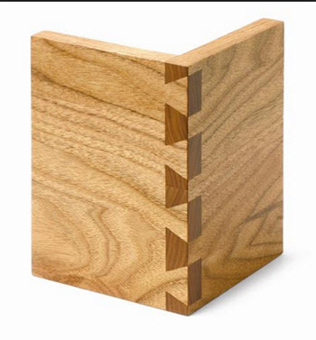Connected dovetailed wood pieces